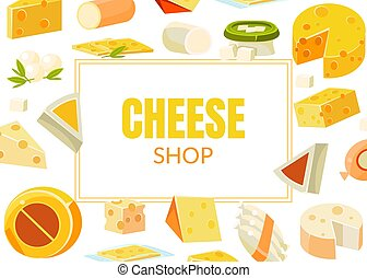 Cheese Shop Banner Template, Natural Dairy Products, Advertising Different Types of Cheese Vector Illustration