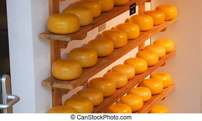 Cheese shop in Amsterdam, the Netherlands. Cheese is a Holland symbol