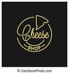 Cheese shop logo. Round linear logo of cheese