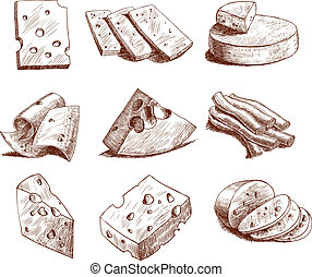 Cheese sketch collection - Whole cheese blocks and slices ...