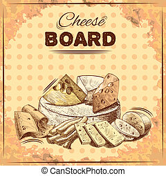Cheese sketch poster - Cheese board poster with gourmet food...