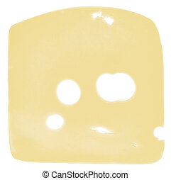 cheese slice isolated on white background, top view