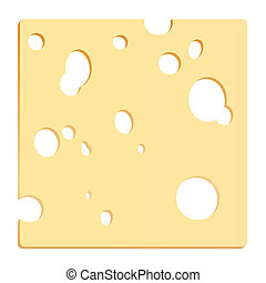 Cheese slice with holes in shape of a square. Vector illustration on white background.