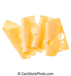 cheese slices isolated on white background. Top view. Flat lay. Cheese slice in air, without shadow.