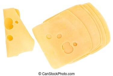 cheese slices isolated on white background, top view