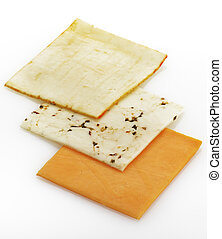 Cheese Slices - Variety Of Cheese Slices On White Background