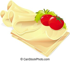 cheese slices with vegetable on white background - vector illustration