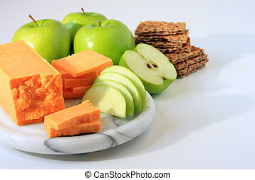 Cheese snack. - Cheese, apple and cracker snack.