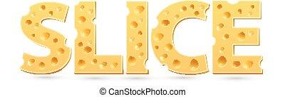 cheese., snede, woord