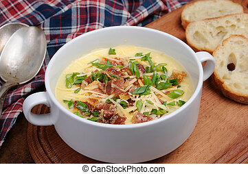 cheese soup with bacon - Creamy Loaded Baked Potato Soup...