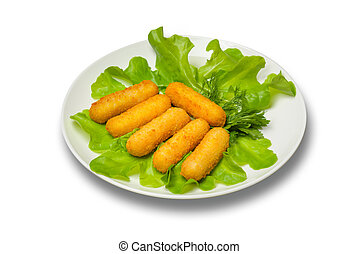Cheese sticks with salad leaves on a white plate on a white background
