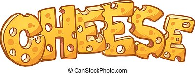 Cheese text - Swiss cheese text. Vector clip art...
