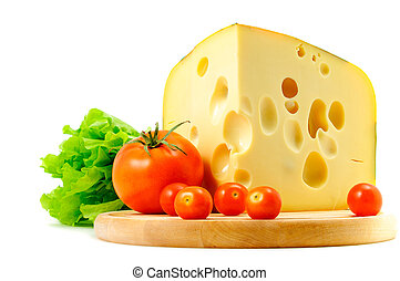 cheese, tomatoes and lettuce on white background