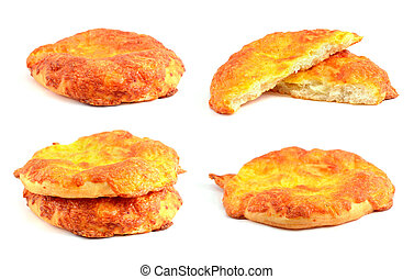Cheese tortilla on white background.