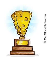 Cheese Trophy Cartoon Vector Illustration