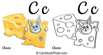Cheese. Vector alphabet letter C, coloring page
