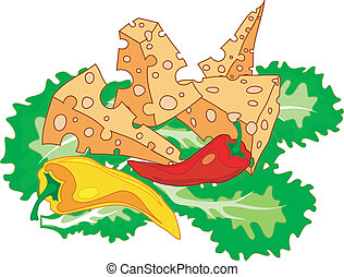 Cheese on leaves of green salad with paprika, illustration...