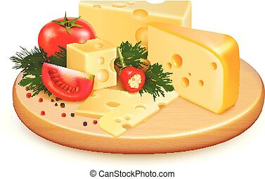 Cheese Vegetables Composition - Cheese with vegetables,...