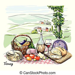 cheese, wine, bread and vegetables on the table