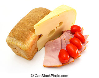 Piece of yellow cheese with a piece of meat and tomatoes on a white background