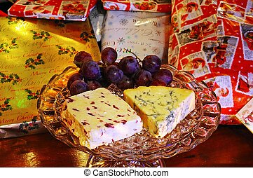 Cheese with Christmas presents. - Wensleydale with...