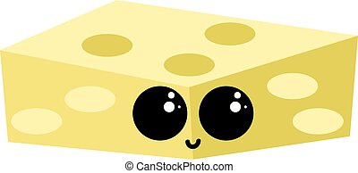 Cheese with eyes, illustration, vector on white background.
