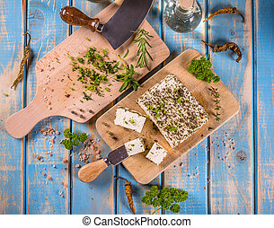 Cheese with fresh herbs