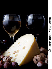 cheese with glass of wine