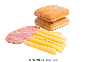 cheese with ham for sandwiches isolated