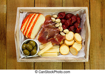 cheese with meat and fruits