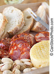 cheese with smoked sausage and bread