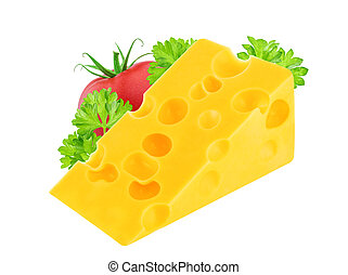 Cheese with tomato and parsley isolated on white background