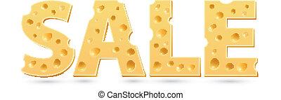 cheese., woord, verkoop