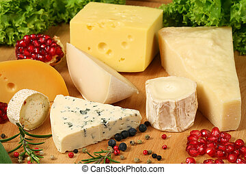 Cheeseboard - Board of cheese: gouda, ementaler, Danish blue...