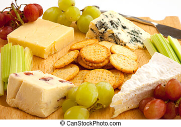 Cheeseboard Close-Up - Close up of a variety of cheese and...