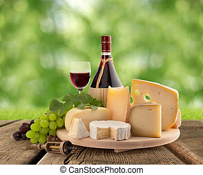 cheeseboard, grape and red wine - cheese board, grape and...
