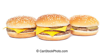 cheeseburger and hamburger isolated on white