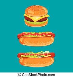 Cheeseburger and hot dog vector isolated