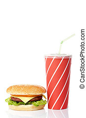 Cheeseburger and soda drink with green straw, reflected on ...