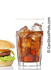 Cheeseburger and soda glass