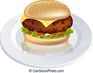 cheeseburger, beefburger, illustra, ou