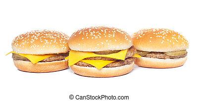 cheeseburger, bianco, hamburger, isolato