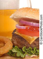 cheeseburger, birra, frigge