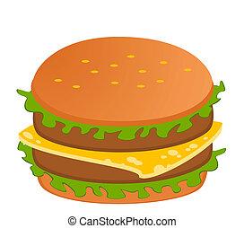 cheeseburger, blanco, plano de fondo