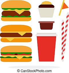 Cheeseburger, burger with beef, veggie burger, plastic cup ...