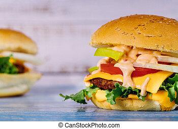 cheeseburger, caramellato, bianco, formaggio, tavola.