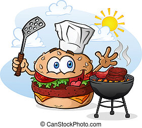 A cheeseburger chef cartoon character, grilling hamburgers and hotdogs over a charcoal grill outside in summer