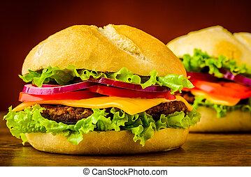 cheeseburger, closeup, szczegół