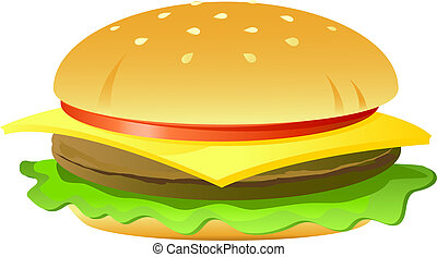Cheeseburger, isolated on white, vector