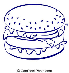 Cheeseburger. Blue and white icon. Illustration for design